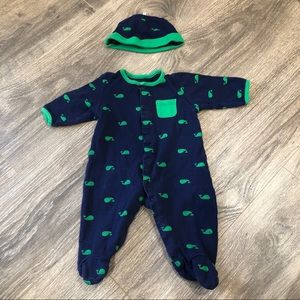 Little Me Nautical Whale Footed Onesie And Hat